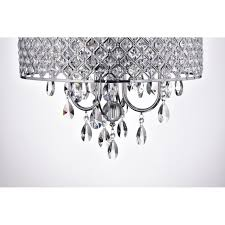marya 4 light round drum crystal chandelier ceiling fixture chrome finish