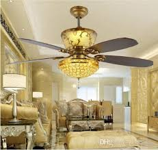 2018 remote control ceiling fans 52inch luxury decoration restaurant living room hall fan light crystal led fan ceiling light from kikizhao