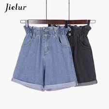 2019 <b>Jielur Korean S 5xl Blue</b> Crimping Denim Shorts For Women ...