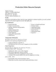 Video Editor Job Resume Description Template Production Yun56 Co