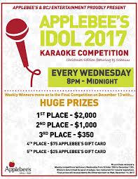 kathysings4u judges applebee s karaoke idol applebee s nov 1 2017 8 00pm