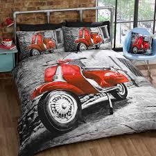 Retro Roller Einzelbett Bettbezug Und Kissenbezug Set Grau Rot