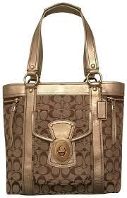 coach purse handbag tote shoulder weekend travel satchel in gold beige brown multi image 0 purple