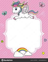 Cute Unicorn Card Frame Space Text Stock Vector Sbego 200487000