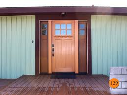 single 36x80 craftsman 6 lite clear glass fiberglass entry door with dentil shelf and 2 active