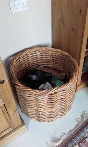 sy large round wicker basket 48cm h x 58cm diameter logs toys storage etc