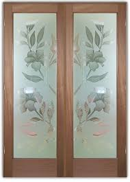 exterior glass doors frosted hibiscus
