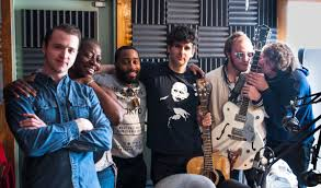 members of the band low cut connie in studio at 91 5 krcc