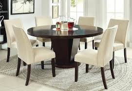 7 pc cimma espresso finish wood 60 round pedestal dining table set with lazy susan