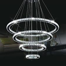 modern re led crystal chandelier circle dining table household large round combination circular