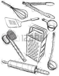 kitchen utensils drawing. Kitchen Utensil Sketches Stock Vector - 45948589 Utensils Drawing T