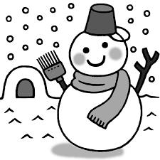 イラストダウンロード冬のイラスト 雪だるまの白黒イラスト素材