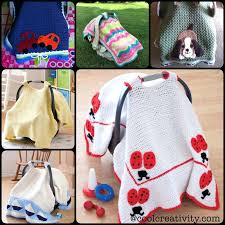 crochet baby car seat cover with pattern free belt