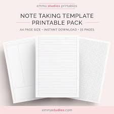 Student Note Taking Template Printable Pack A4 A5 And