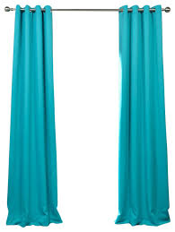 grommet blackout single panel curtain turquoise blue