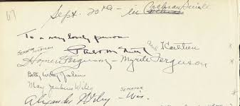 Homer Ferguson - Autograph 9/20 co-signed by: Alexander Wiley, Myrtle Jones  Ferguson, May Jenkins Wiley, Grace Pagano | HistoryForSale Item 34912