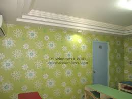 Small Picture Floral Green Vinyl Wallpaper Decor For Children Academic Center