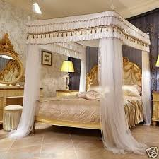 Details about Luxury canopy for bed drapes mosquito net with 4 corner frames queen king white