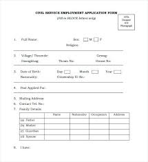 Civil Service Exam Application Form Amazing Employment Application Form Template Uk Restaurant Application