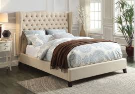 ACME Beige Wingback Tufted Linen Transitional Bed