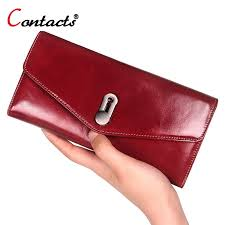 contact s cow genuine leather women wallet female red leather purse women clutch long wallet phone credit card holder coin purse