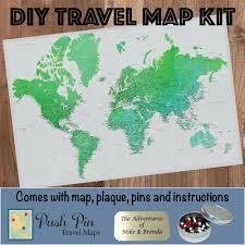 details about diy enchanting emerald world push pin travel map kit