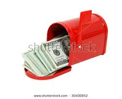 metal mailbox flag. Red Metal Mailbox With Signal Flag Full Of Large Bills Money - Path Included A
