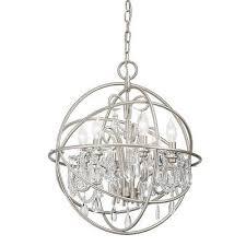 kichler vivian 6 light brushed nickel clear glass globe chandelier