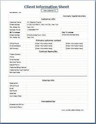 Business Format Client Information Sheet Word Excel