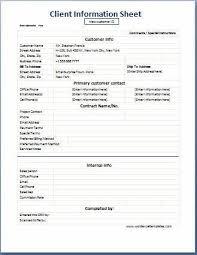 Printable Customer Information Form Business Format Client Information Sheet Word Excel