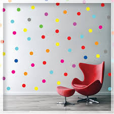 90 PCS Mixed 15 colors <b>Rainbow Polka dots wall</b> decals sticker ...