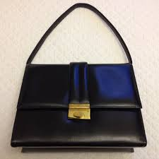 vintage 1950s black leather handbag made in canada for macy s new york