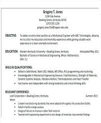 Mechanical Engineer Resume Objective Engineering Examples Entry