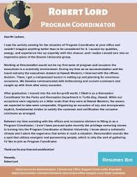 Cover Letter Means Program Coordinator Cover Letter Example