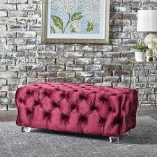 tufted ottomans benches tufted velvet rectangle ottoman bench by knight home tufted ottoman bench diy