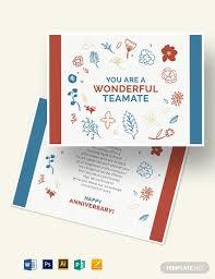 Template Anniversary Card Employee Anniversary Card Template Word Psd Apple