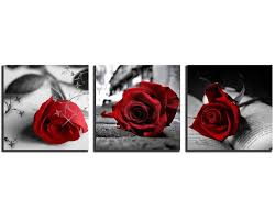 3pcs black and white red rose flower abstract wall art canvas gift ready to hang on red rose canvas wall art with 3pcs black white red rose flower abstract wall art print canvas