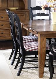 treasures extension leg table 7 pc set in rustic oak finish with black ladder back chairs