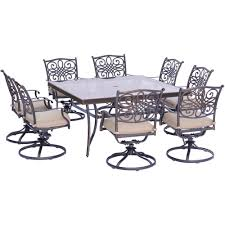 Hanover Traditions 9-Piece Aluminum Outdoor Dining Set with Square ...