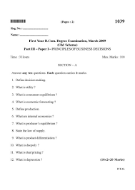 b com previous year question papers of 1st year of university of answer any ten questions each question carries 2 marks 1 what is job description 2 what is departmentation 3 what is mental revolution