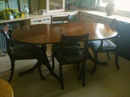 solid mahogany d end twin pedestal dining table and six chairs made by simbeck of