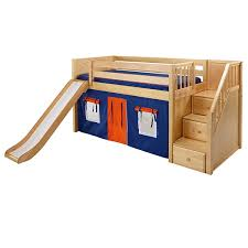 Delicious Hardwood Low Loft Bed with Stairs and Slide