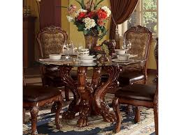 54 round dining table w pedestal in cherry oak glass