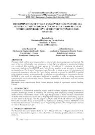 Pdf Determination Of Stress Concentration Factors Via