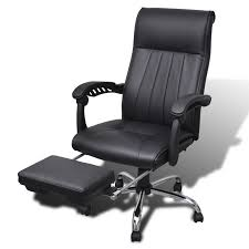 black artificial leather office chair with adjule footrest