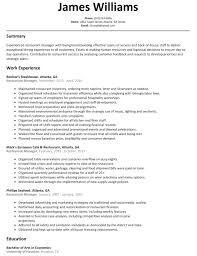 Cv Restaurant 20 Resume Manager Job Description For Cover How Write