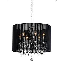 chrome and black 6 light crystal chandelier