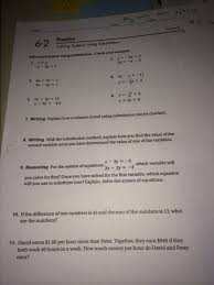 today we took at test on chapter 5 homework for the weekend is a handout on solving simultaneous equations