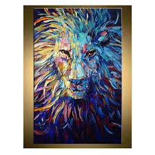 lion painting abstract art animal original oil on canvas palette knife heavy textured technique ready to hang thick oil painting in painting calligraphy