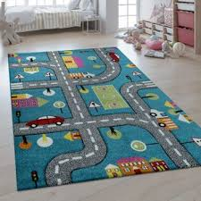 children s rug 3d effect car world road map blue bild 1
